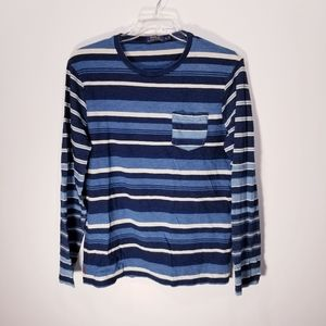 Polo Mens Jersey Indigo Striped Shirt sz-Large